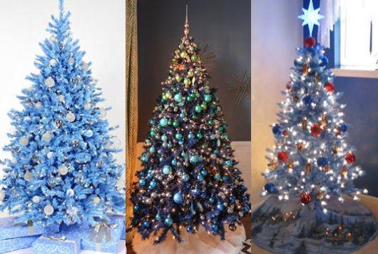 montagem com três árvores de natal azuis diferentes