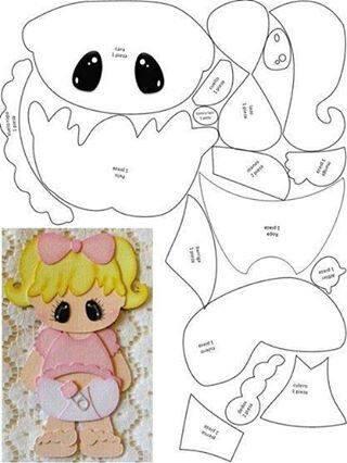molde boneca bebê