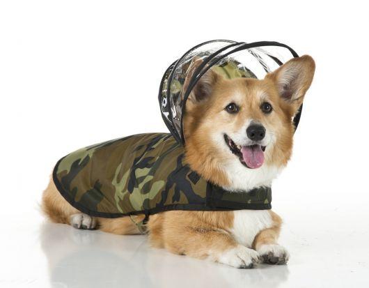 Cachorro sentado com a língua para fora vestindo uma capa de chuva camuflada com gorro