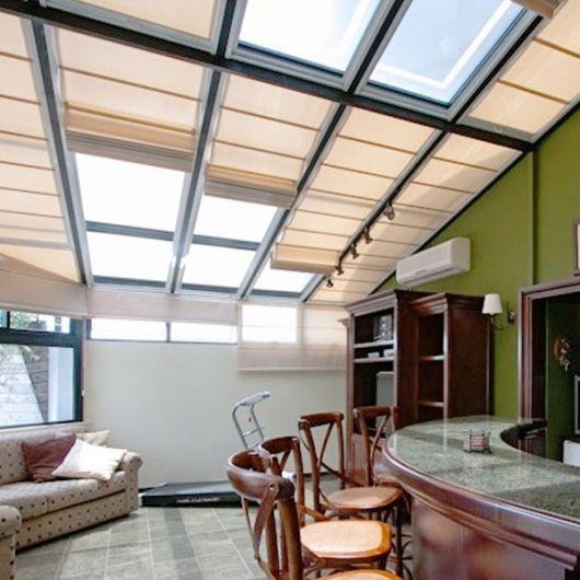 cortina para telhado de vidro