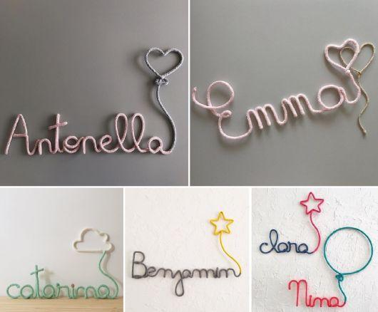 enfeite de porta de maternidade com nomes em arame