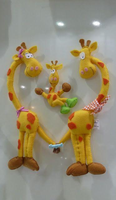 enfeite de porta de maternidade família de girafas