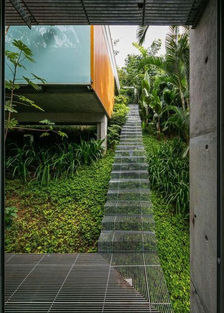 Escada flutuante transparente em um jardim com muita vegetação
