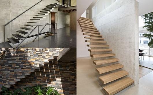 Montagem com três escadas flutuantes diferentes