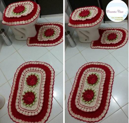 conjunto vermelho para banheiro