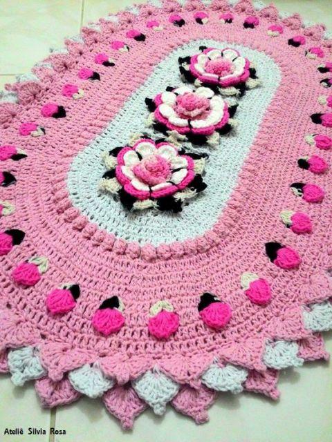 tapete de crochê rosa