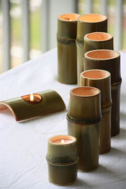 luminária de bambu verde