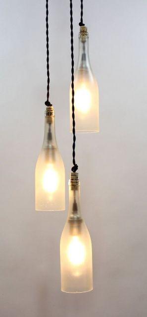 luminária de teto de garrafas