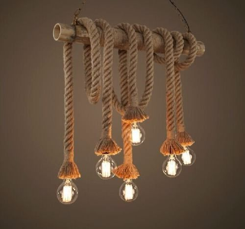 luminária artesanal com cordas