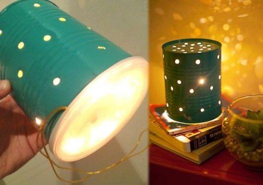 luminária artesanal com furos