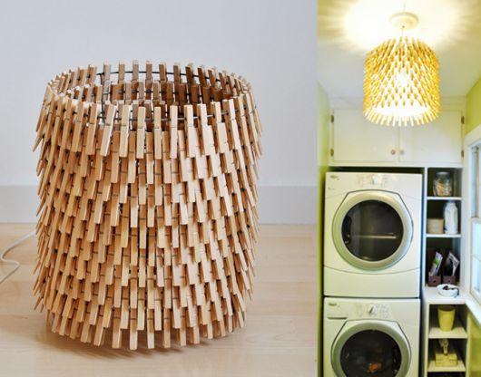 luminária para cozinha de prendedor de roupa