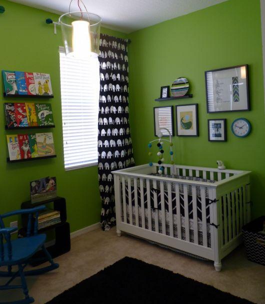 quarto de bebê verde com preto