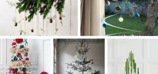 árvores de natal suspensas