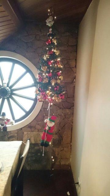 árvore de Natal suspensa no banheiro