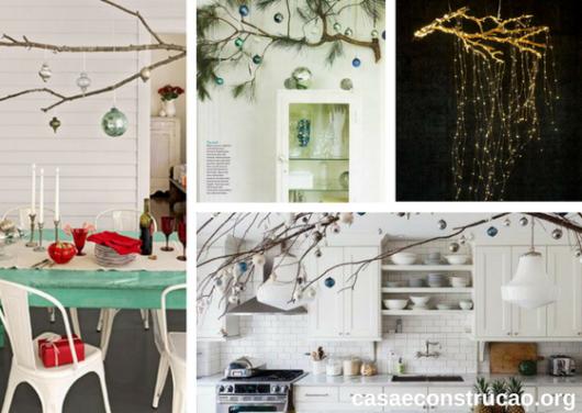 árvores de Natal suspensa sobre mesas e móveis feitas com galhos