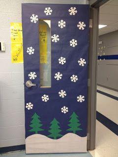 porta de escola decorada com desenho de flocos de neve