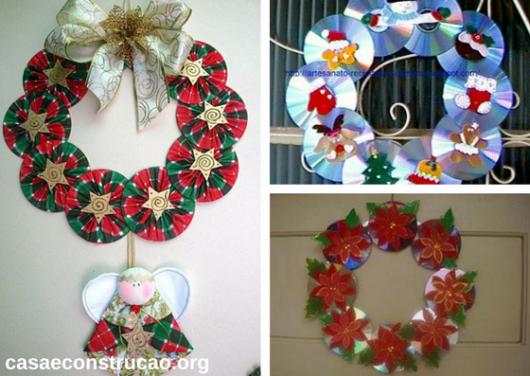 enfeites de Natal com CD em formato de arco