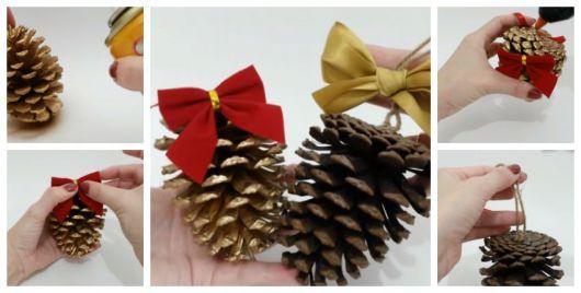 Montagem ensinando a fazer enfeites de árvore de Natal com pinhas.