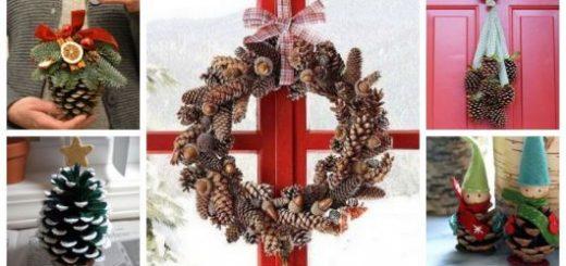 Montagem com diferentes tipos de enfeites de Natal com pinhas.