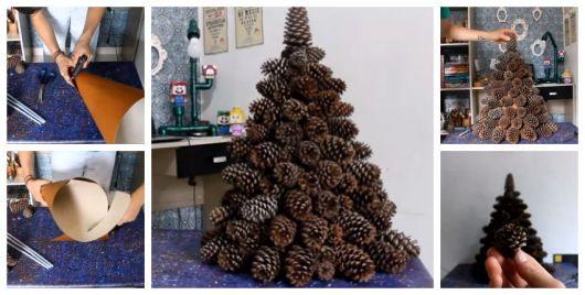 Montagem ensinando a fazer árvore de Natal com pinhas.