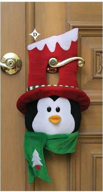 enfeite de porta em feltro para o natal pinguim