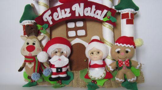 enfeite de porta em feltro para o natal feliz natal