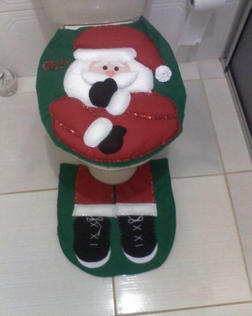 enfeite de natal para banheiro em feltro papai noel