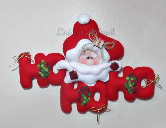 enfeite de porta em feltro para o natal papai noel