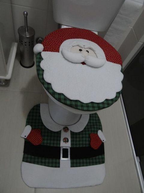 enfeite de natal para banheiro em feltro modelo papai noel