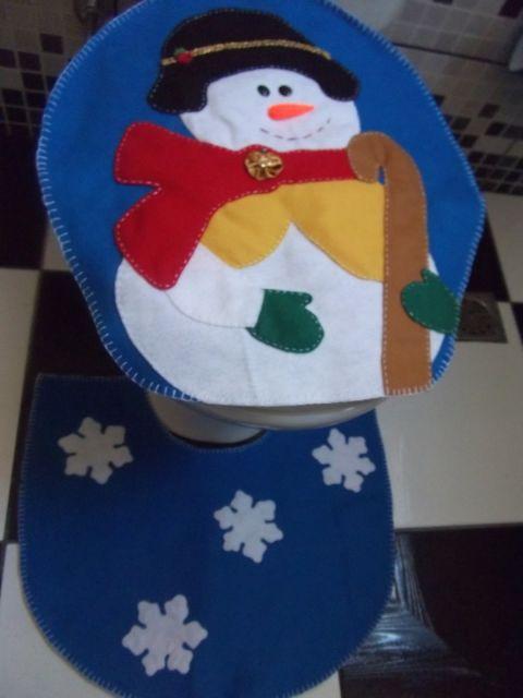 enfeite de natal para banheiro em feltro boneco de neve