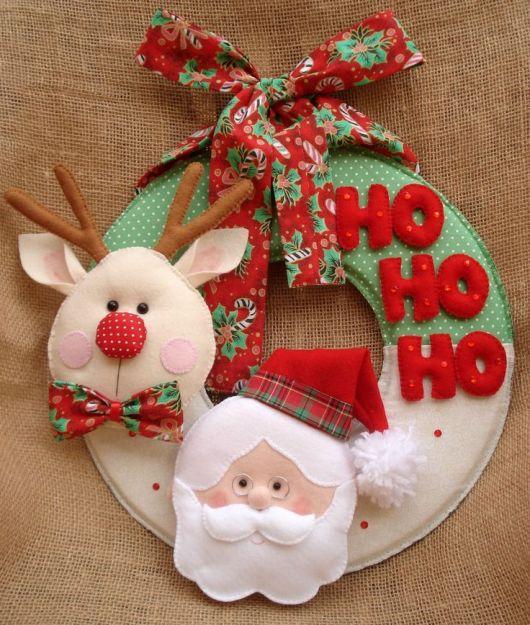 enfeite de porta em feltro para o natal guirlanda com rena