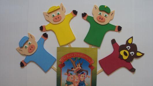fantoches de EVA três porquinhos