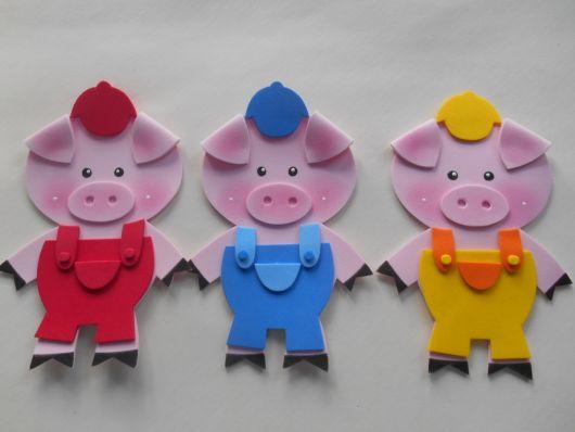 fantoches de EVA 3 porquinhos