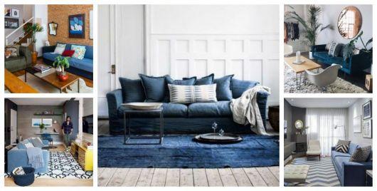 Montagem com diferentes tipos de sofá azul escuro.