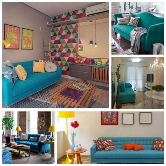Cinco salas de estar com sofás azul turquesa.