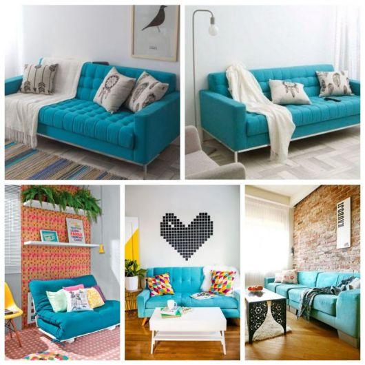 Montagem com cinco salas de estar com azul turquesa.