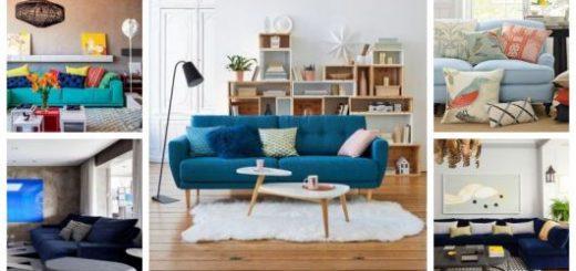 Montagem com diferentes salas de estar com sofá azul.