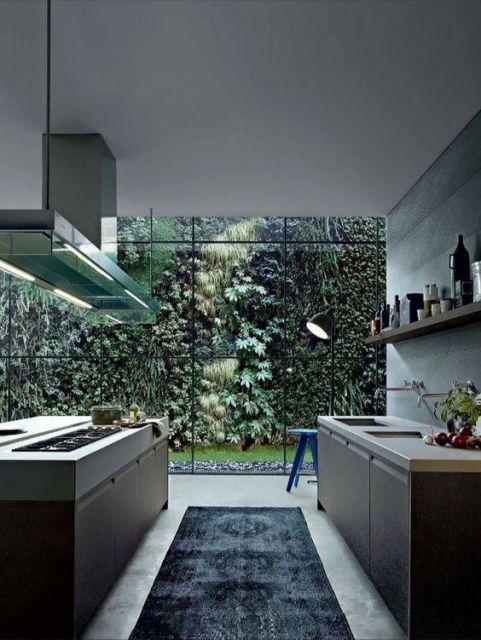 tapete cinza em cozinha
