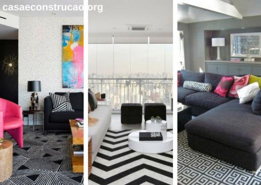 tapetes modernos com estampa geométrica preto e branco em sala