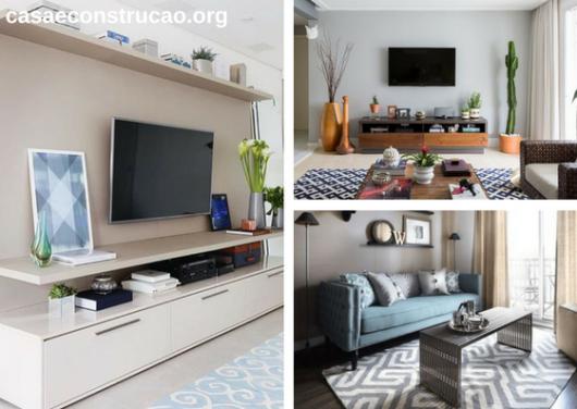 tapetes modernos com estampa geométrica em tons claros em sala de TV