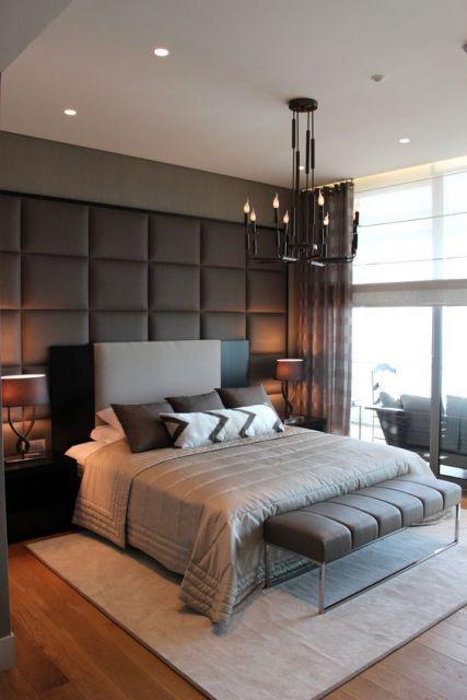 tapete moderno cinza em quarto