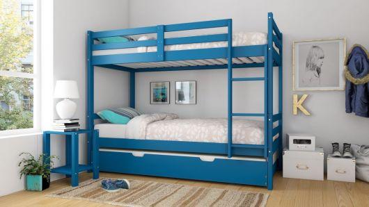 treliche de madeira azul com bicama