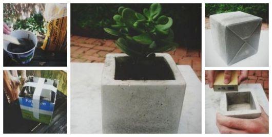 Montagem ensinando a fazer vaso de cimento com caixas de leite..