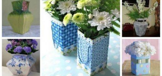 Montagem com cinco tipos diferentes de vasos de caixa de leite.
