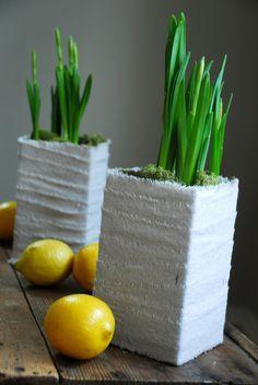 Vaso com tecido branco e plantas.