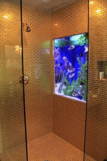 Aquário de parede simples instalado dentro do box de um banheiro