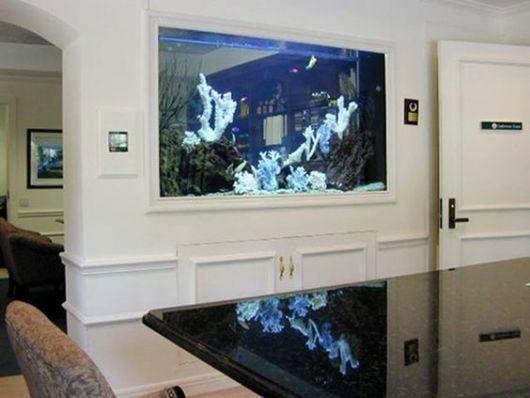 Aquário de parede em uma parede branca dividindo a sala e a cozinha