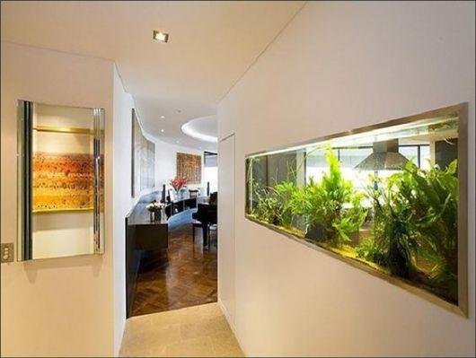 Aquário de parede em uma parede branca decorado com muitas plantas marinhas