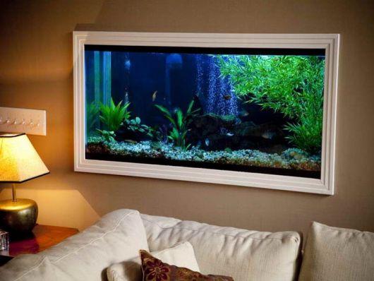 Aquário de parede simples instalado acima de um sofá com gesso ao seu redor