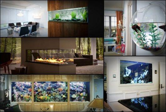 Montagem com cinco fotos diferentes de aquários de parede